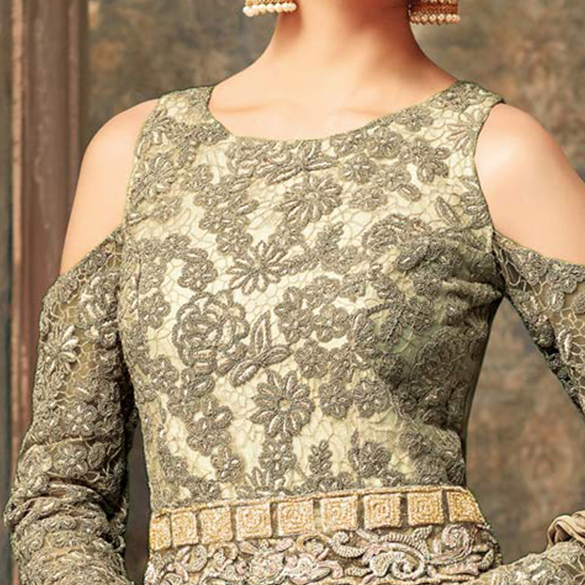 Grey Floral Embroidered Work Net Anarkali Suit