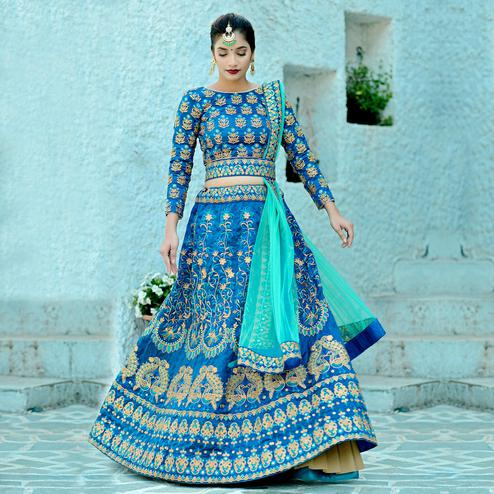 Pretty Blue Colored Party Wear Embroidered Silk Lehenga Choli