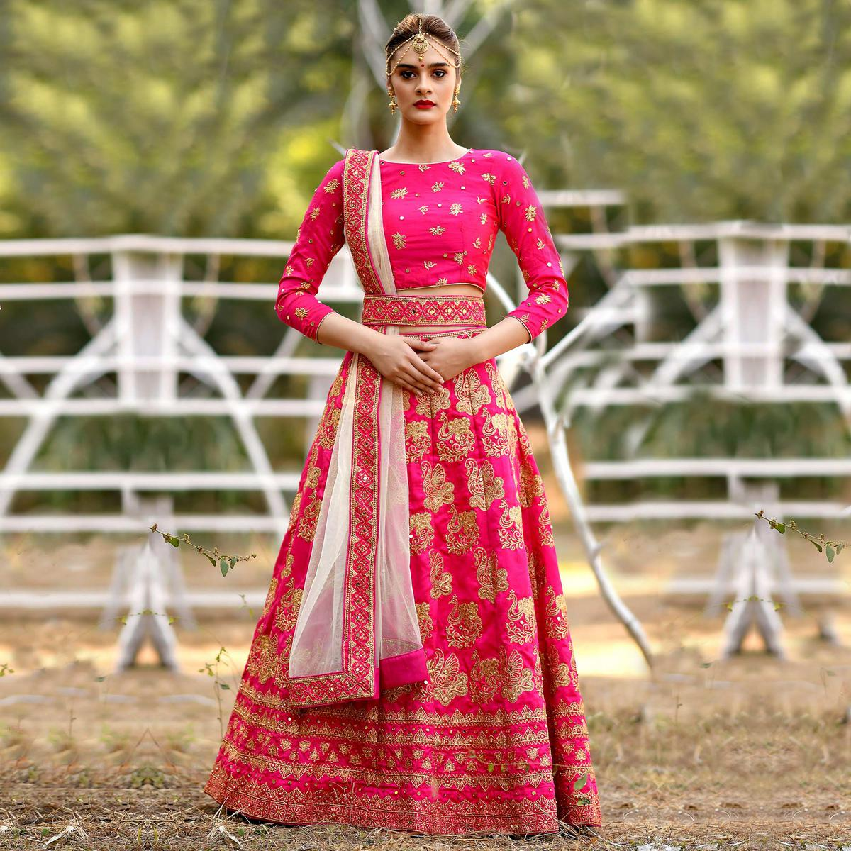 Flaunt Dark Pink Colored Party Wear Embroidered Silk Lehenga Choli