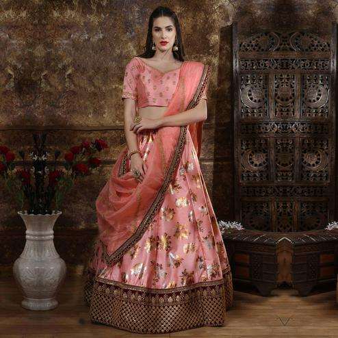 Charming Pink Colored Party Wear Embroidered Thai Silk Lehenga Choli