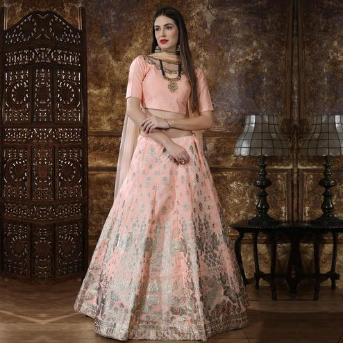 Engrossing Peach Colored Party Wear Foil Printed Thai Silk Lehenga Choli