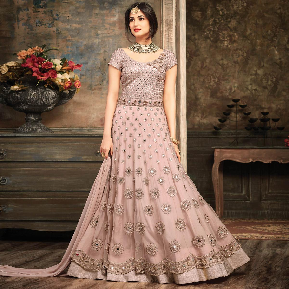 Light Pink Embroidered Work Net Anarkali Suit