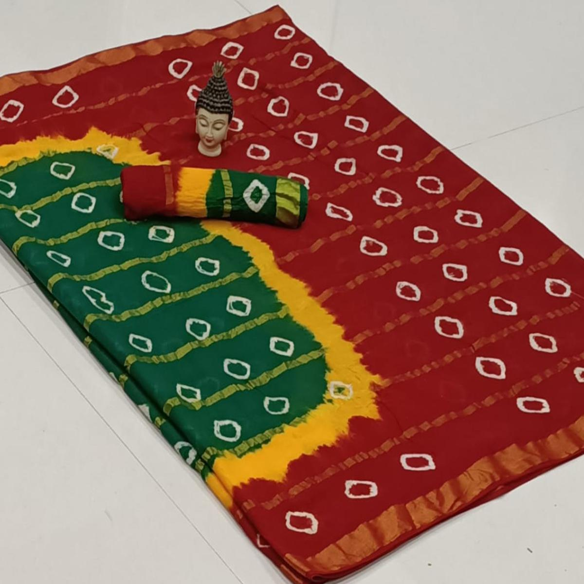 Gleaming Green-Red Colored Party Wear Bandhani Print Cotton Saree