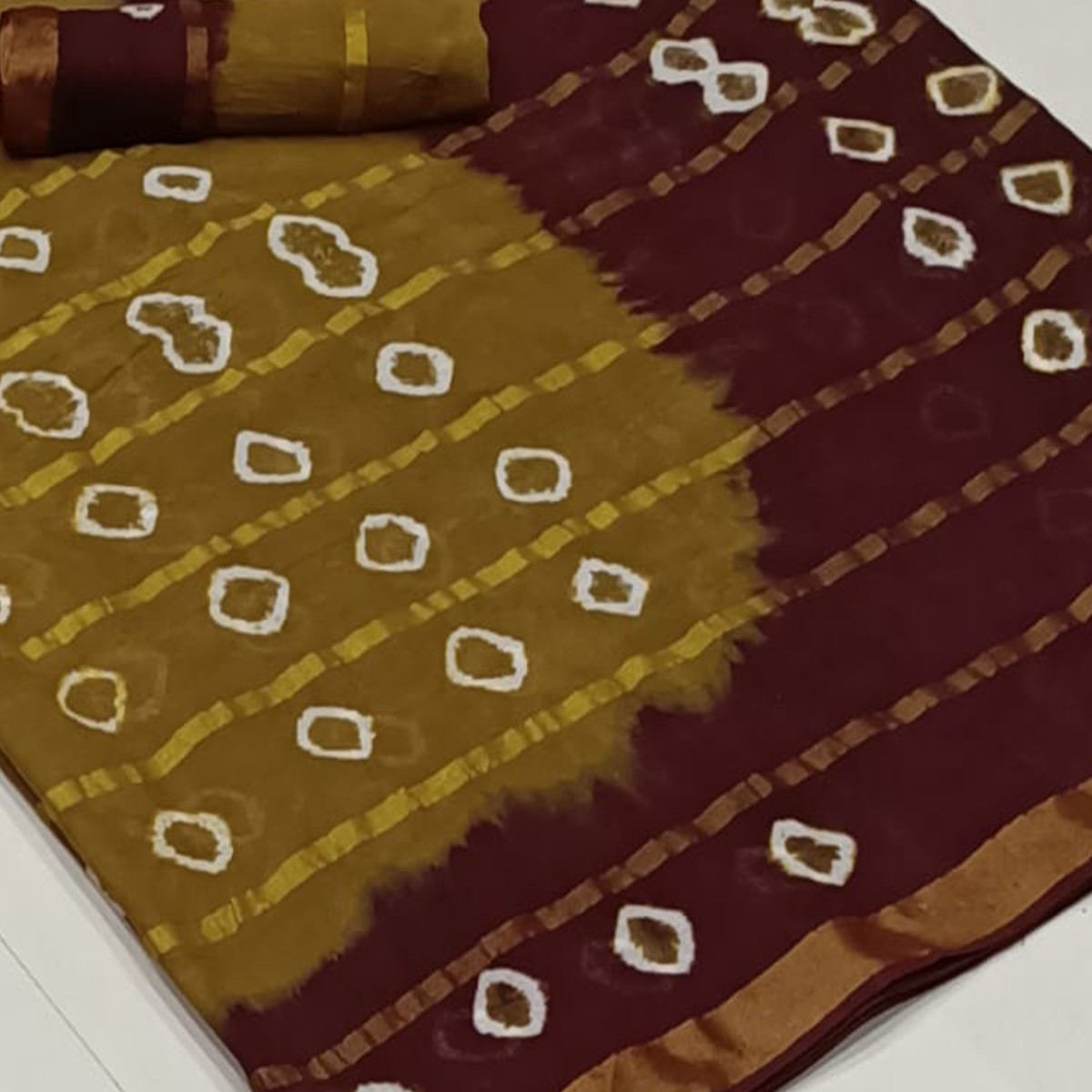 Unique Brown-Maroon Colored Party Wear Bandhani Print Cotton Saree