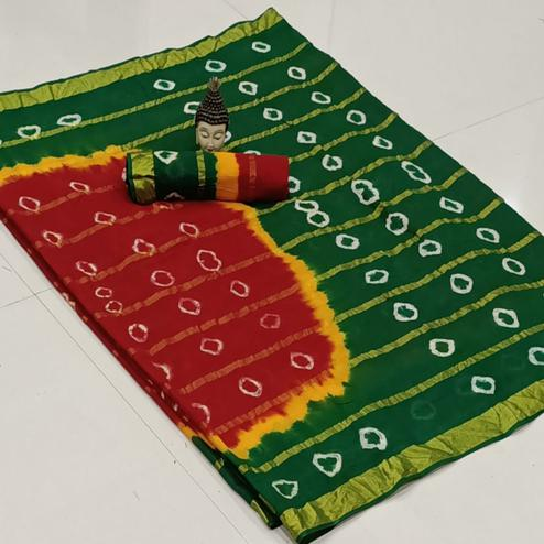 Demanding Red-Green Colored Party Wear Bandhani Print Cotton Saree