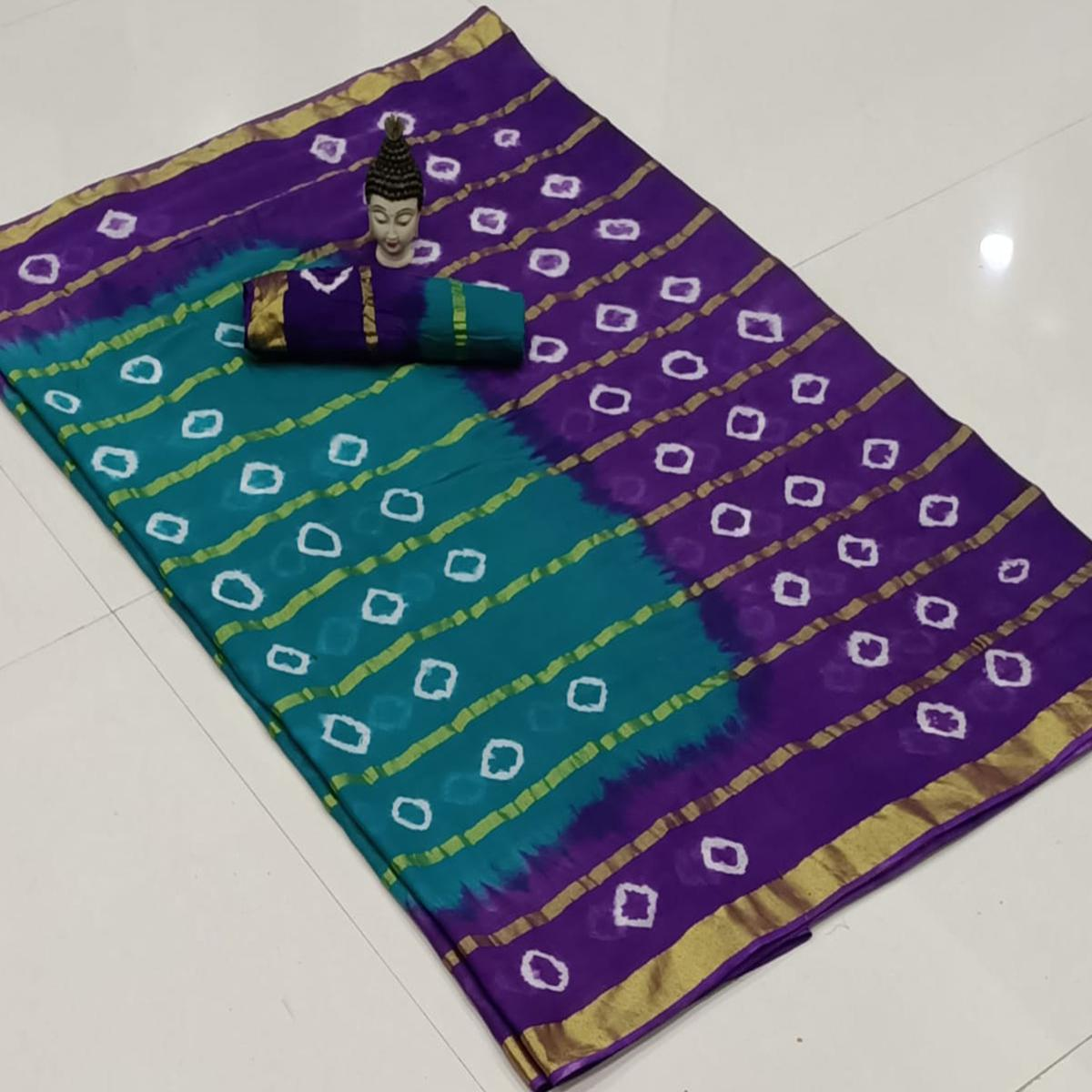 Magnetic Blue-Purple Colored Party Wear Bandhani Print Cotton Saree