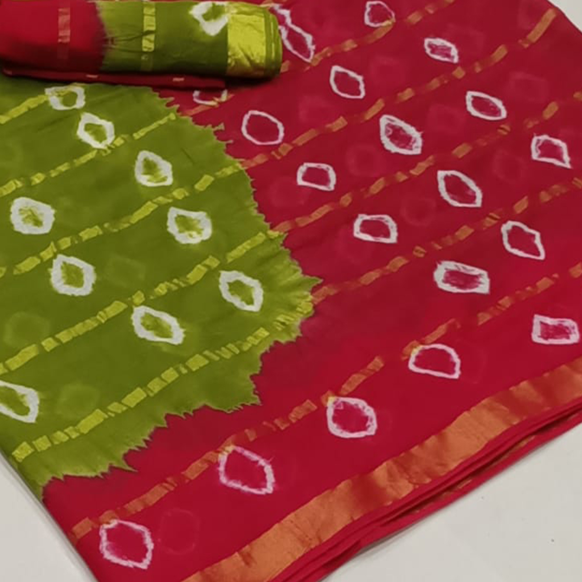 Flattering Olive Green-Red Colored Party Wear Bandhani Print Cotton Saree