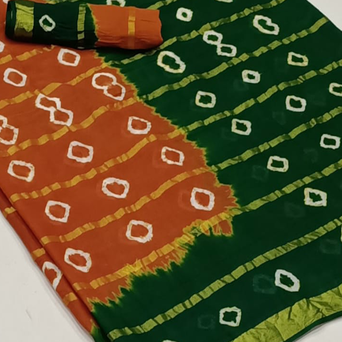 Excellent Rust Orange-Green Colored Party Wear Bandhani Print Cotton Saree