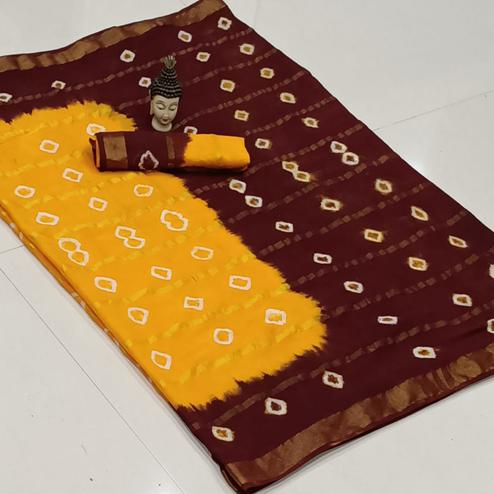Marvellous Yellow-Maroon Colored Party Wear Bandhani Print Cotton Saree