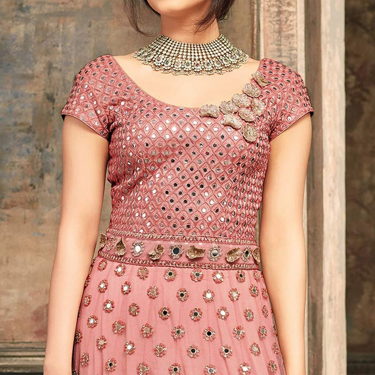 Peach Heavy Embroidered Work Net Anarkali Suit