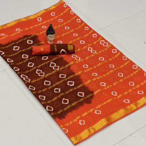 Flirty Maroon-Orange Colored Party Wear Bandhani Print Cotton Saree