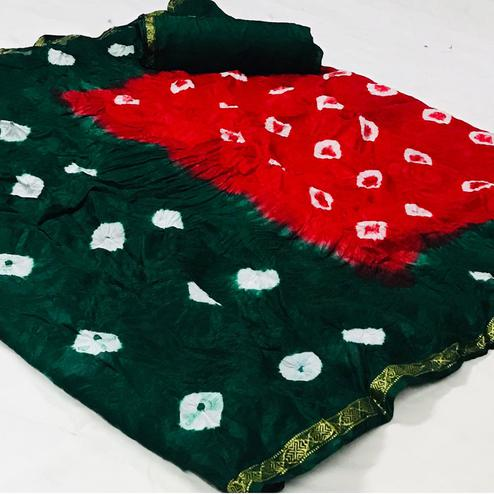 Entrancing Red-Green Colored Party Wear Bandhani Print Cotton Silk Saree