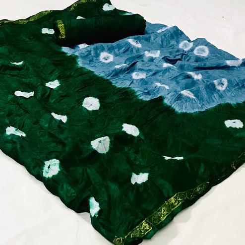 Capricious Blue-Green Colored Party Wear Bandhani Print Cotton Silk Saree