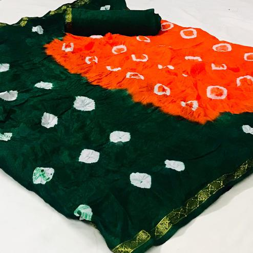 Groovy Orange-Green Colored Party Wear Bandhani Print Cotton Silk Saree