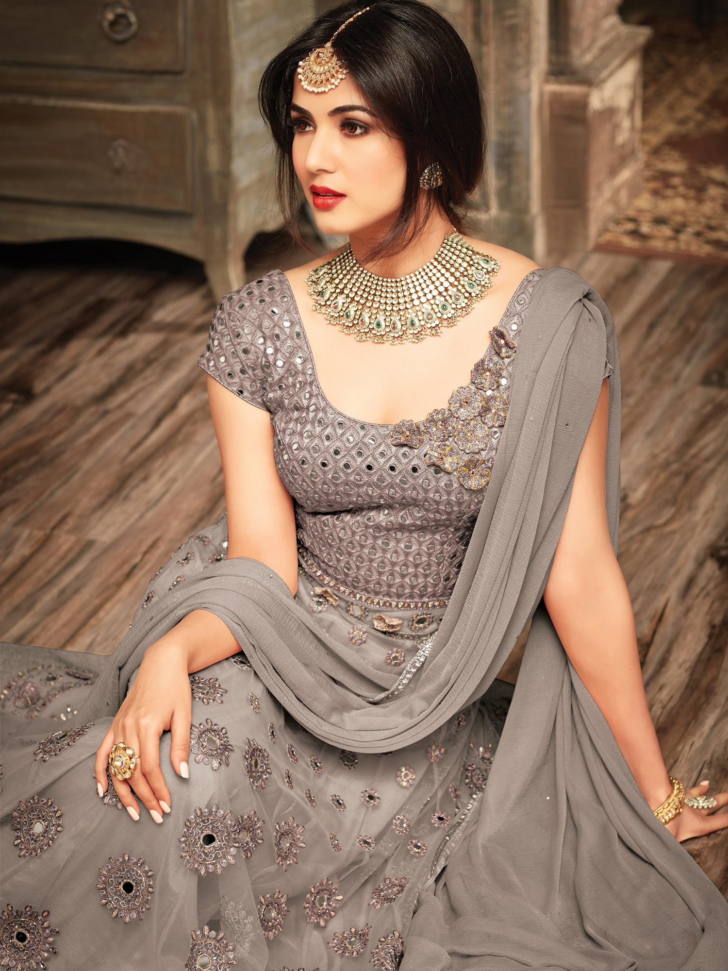 Gray Floral Embroidered Work Floor Length Net Anarkali Suit