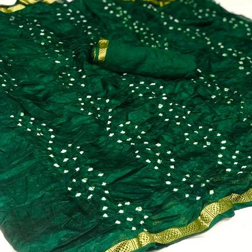 Intricate Green Colored Party Wear Bandhani Print Cotton Silk Saree