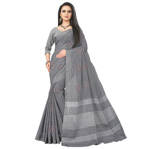 Adorable Grey Colored Party Wear Block Print Linen Saree