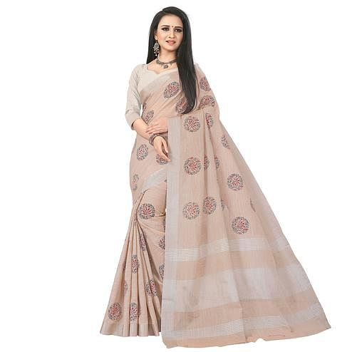 Attractive Beige Colored Party Wear Block Print Linen Saree