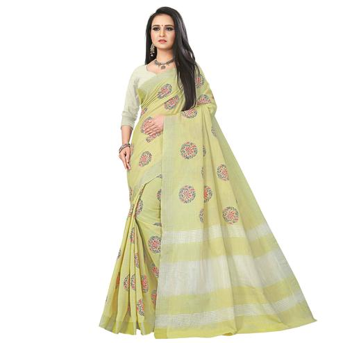 Beautiful Light Olive Green Colored Party Wear Block Print Linen Saree