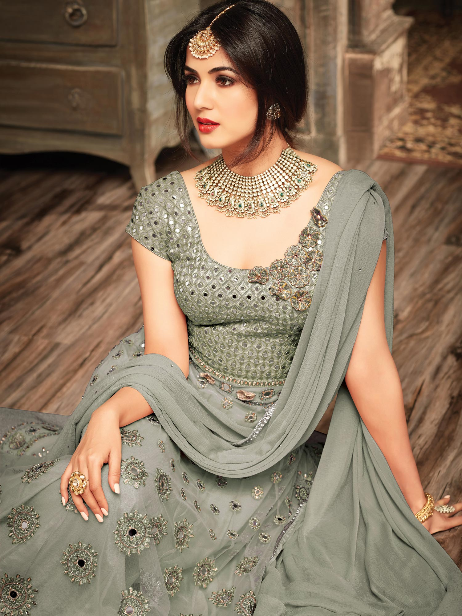Greenish Grey Floral Embroidered Work Net Anarkali Suit