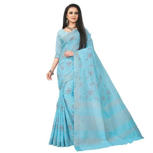 Blissful Sky Blue Colored Party Wear Block Print Linen Saree