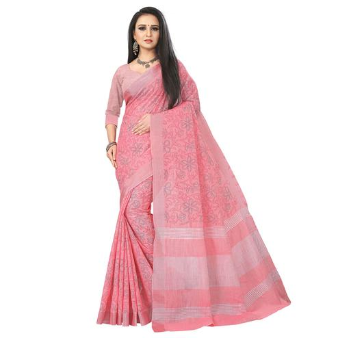 Ideal Rose Pink Colored Party Wear Block Print Linen Saree
