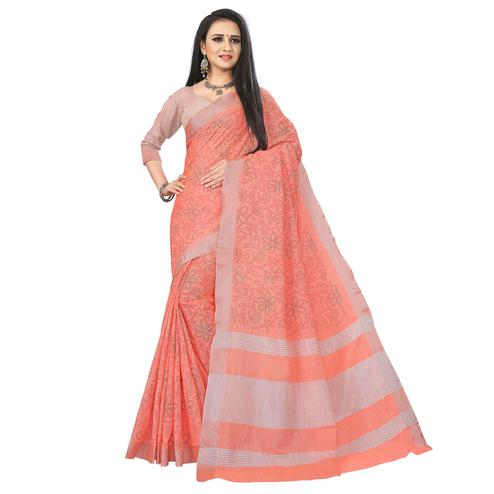Imposing Peach Colored Party Wear Block Print Linen Saree