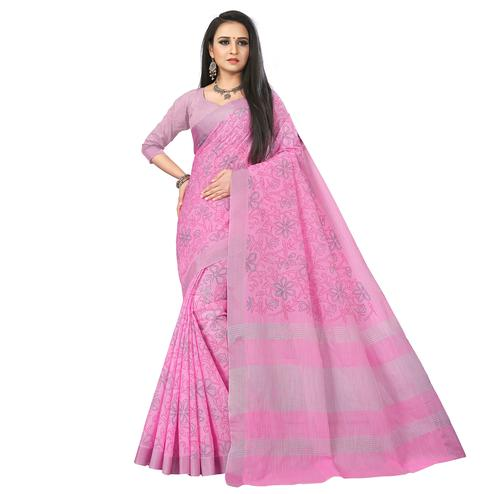 Lovely Pink Colored Party Wear Block Print Linen Saree