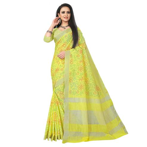 Majesty Lemon Yellow Colored Party Wear Block Print Linen Saree