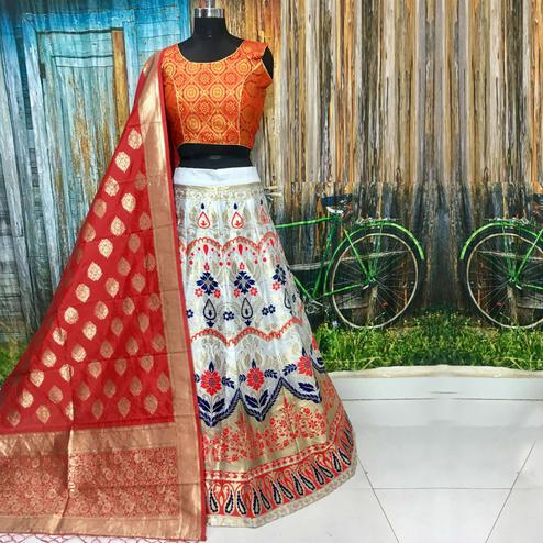 Adorable White Colored Party Wear Woven Banarasi Silk Lehenga Choli