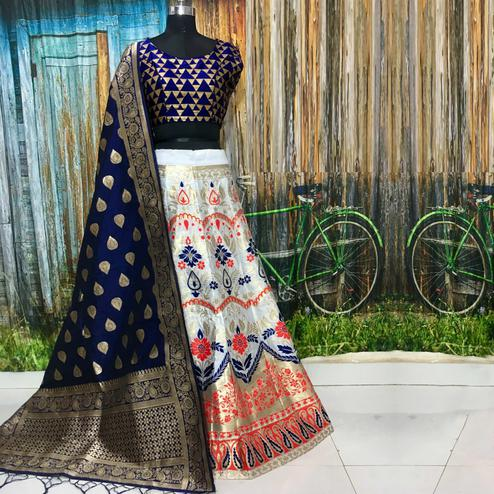 Glorious White Colored Party Wear Woven Banarasi Silk Lehenga Choli
