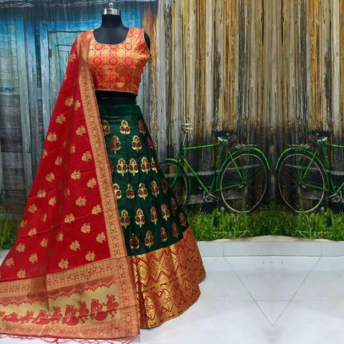 Attractive Green Colored Party Wear Woven Banarasi Silk Lehenga Choli