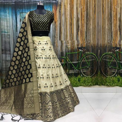 Beautiful Off White Colored Party Wear Woven Banarasi Silk Lehenga Choli