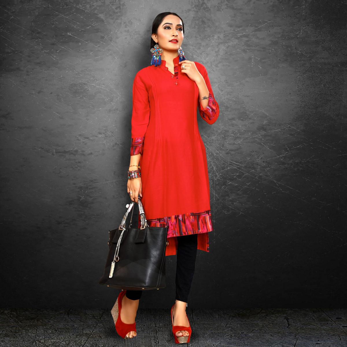Trendy Red Casual Wear Rayon Kurti