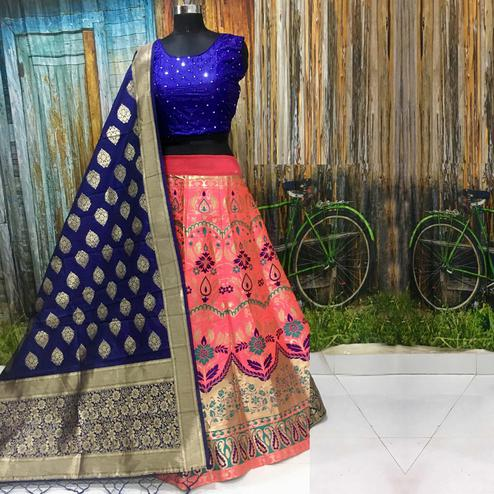 Charming Pink Colored Party Wear Woven Banarasi Silk Lehenga Choli
