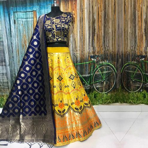 Engrossing Yellow Colored Party Wear Woven Banarasi Silk Lehenga Choli