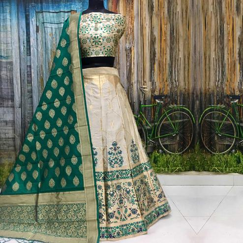 Amazing White Colored Party Wear Woven Banarasi Silk Lehenga Choli