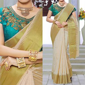 Beige Weaving Work Silk Saree with Green Embroidered Blouse