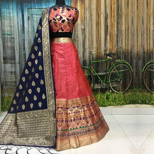 Imposing Peach Colored Party Wear Woven Banarasi Silk Lehenga Choli