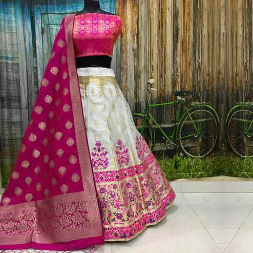 Majesty White Colored Party Wear Woven Banarasi Silk Lehenga Choli