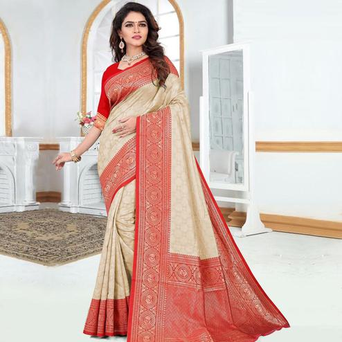 Hypnotic Beige Colored Festive Wear Woven Silk Saree