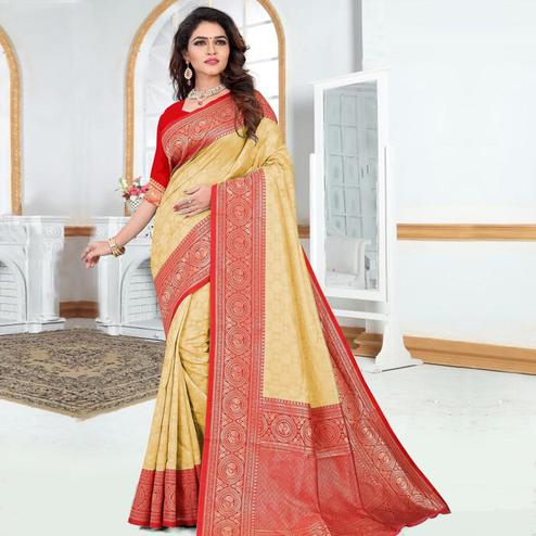 Preferable Yellow Colored Festive Wear Woven Silk Saree
