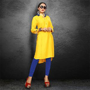 Ravishing Yellow Casual Wear Rayon Kurti