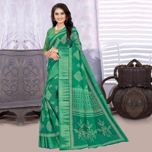 Arresting Green Colored Casual Wear Printed Cotton-Linen Saree