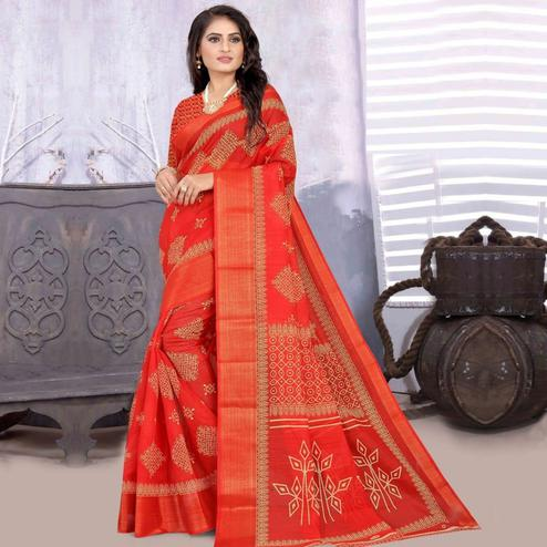 Exotic Red Colored Casual Wear Printed Cotton-Linen Saree