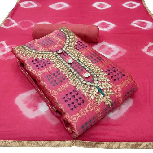 Adorable Pink Colored Partywear Embroidered Banarasi Jacquard Dress Material