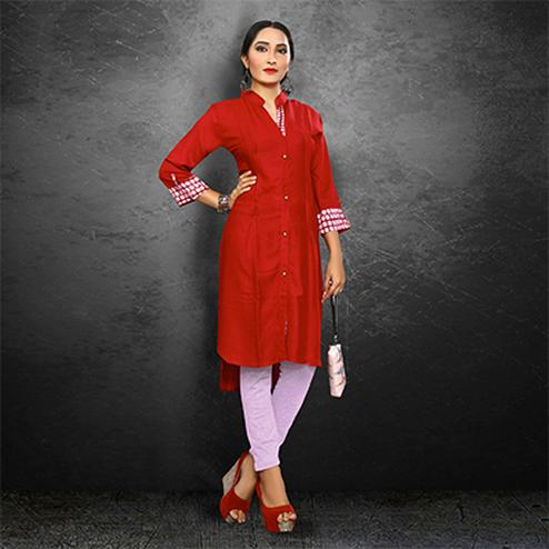 Stylish Red Casual Wear Rayon Kurti