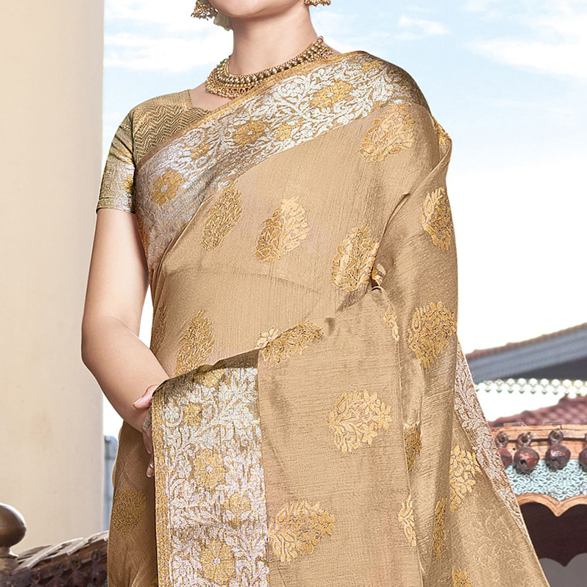 Gorgeous Beige Colored Festive Wear Woven Silk Saree