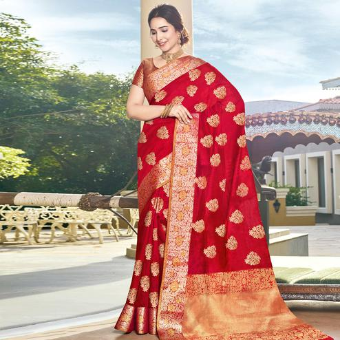 Ideal Red Colored Festive Wear Woven Silk Saree