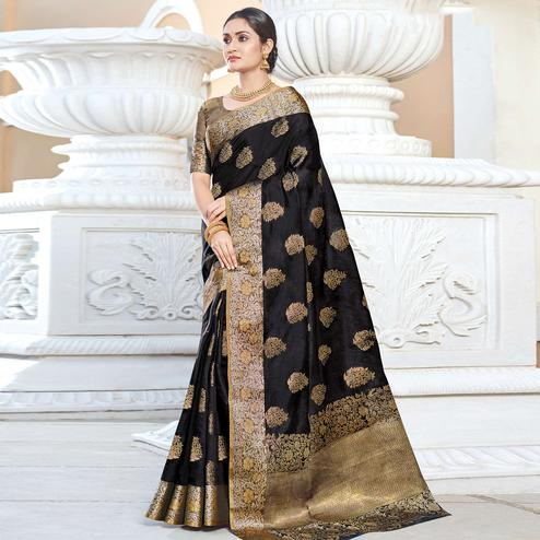 Imposing Black Colored Festive Wear Woven Silk Saree
